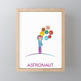 Future Astronaut With Planets Funny Gift For Kids Framed Mini Art Print