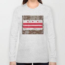 Washington D.C. Flag on Brick District of Columbia Standard Long Sleeve T-shirt