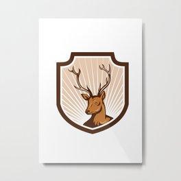 Deer Stag Buck Antler Head Shield Metal Print