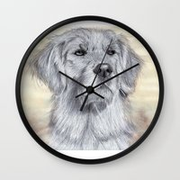 golden retriever Wall Clocks featuring Golden Retriever by Cindy-R