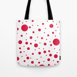 Mixed Polka Dots - Crimson Red on White Tote Bag