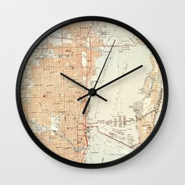 Vintage Map of Miami Florida (1950) Wall Clock