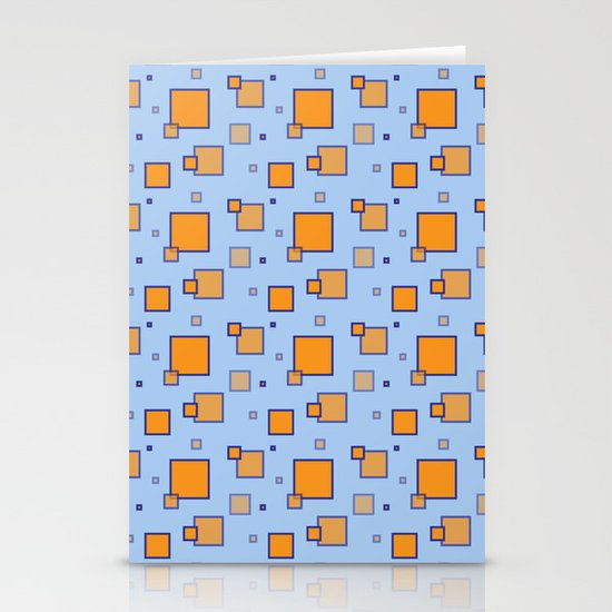 Orange and Blue Squares Stationery Cards