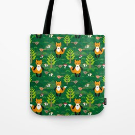 Fox and birds in the forest Tote Bag