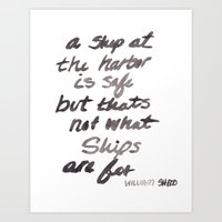 ships Art Prints featuring Ships by City Paperie