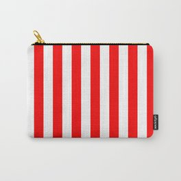 Narrow Vertical Stripes - White and Red Carry-All Pouch