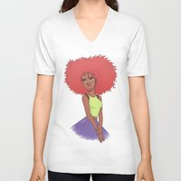afro V-neck T-shirts featuring Afro girl by Joan Pons