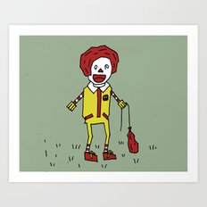 Sad Ronald McDonald In A Field Art Print