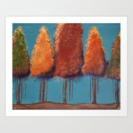 Glory in Autumn Trees Impressionism Painting Art Print