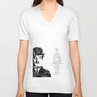 charlie chaplin V-neck T-shirts featuring CHAPLIN by ARCHIGRAF