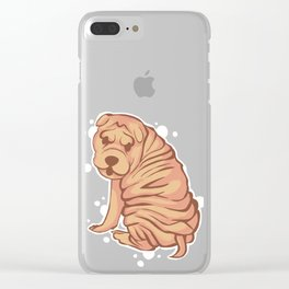 Bubbly Brown Sharpei Clear iPhone Case