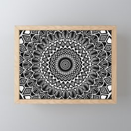 Detailed Black and White Mandala Framed Mini Art Print