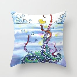 Bath Time Octopus Throw Pillow