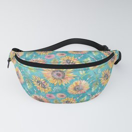 Sunflowers on Turquoise Fanny Pack