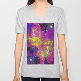Journey Through Space - Abstract purple and blue, space themed artwork Unisex V-Neck