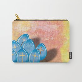 Blue eggs and crosses on pastel textured background Carry-All Pouch