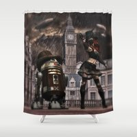 sci fi Shower Curtains featuring Steampunk Sci-Fi 3 by gypsykissphotography