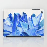 minerals iPad Cases featuring Sapphire Watercolor Facets by Cat Coquillette