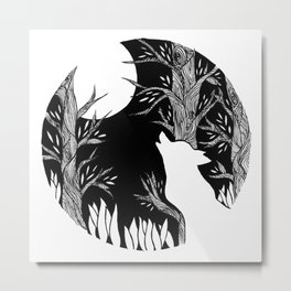 The Wolf and the Moon Metal Print