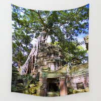 tomb raider Wall Tapestries featuring Angkor Temple Doorway by Brian Raggatt