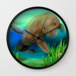 Manatee Illustration Wall Clock