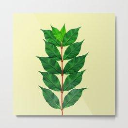 Tree Branch Minimal Leaves Metal Print