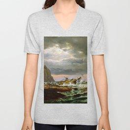 Johan Christian Dahl Shipwreck on Coast Norway Unisex V-Neck