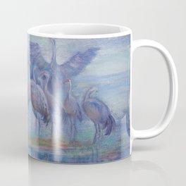 Wilde Birds in the forest lake Foggy morning Wildlife scene Autumn landscape pastel painting Coffee Mug