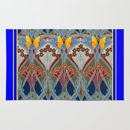 Ornate blue & Yellow Art Nouveau Butterfly Red Designs Rug