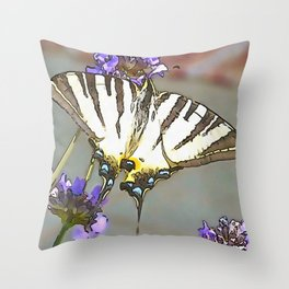 Scarce Swallowtail On Lilac Flowers Black Outline Art Throw Pillow