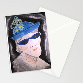Old lady with blue hat and sunglasses. Original painting. Stationery Cards