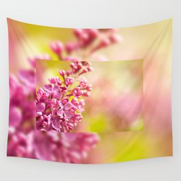 Lilac flowerets bloom bright pink Wall Tapestry