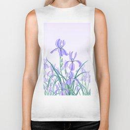 purple iris watercolor Biker Tank