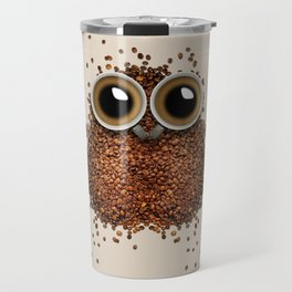 Coffee beans and cups forming owl Travel Mug