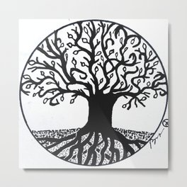 """Tree of Spring"" Hand-Drawn by Dark Mountain Arts Metal Print"