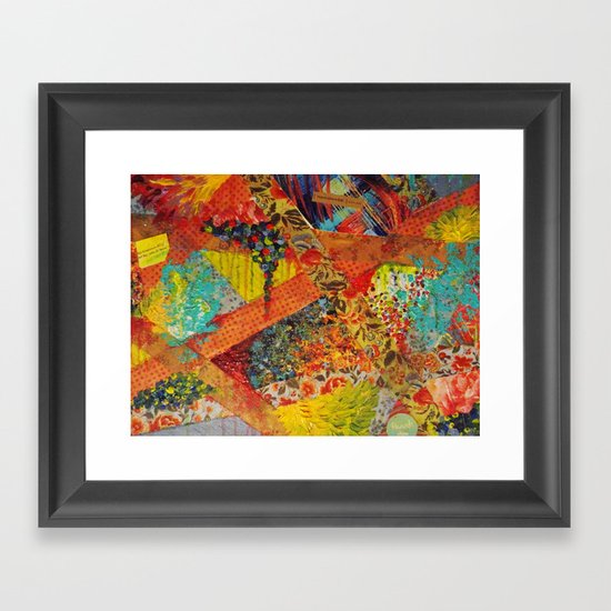 Pieces of Me - Gorgeous Bold Fabric Painting Collage Love Colorful Rainbow Yellow Red Stripes Floral Framed Art Print