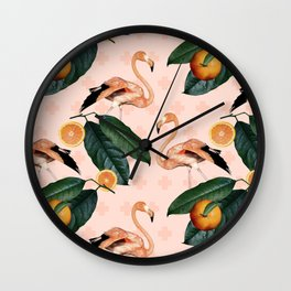 Flamingos & Tangerines Pattern Wall Clock