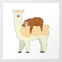Cute Llama with a Sleeping Sloth Gift Art Print