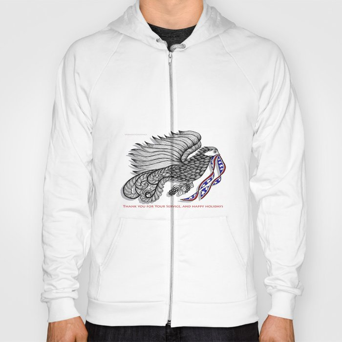Veterans Happy Holiday and Thank You for Your Service - Zentangle Illustration Hoody