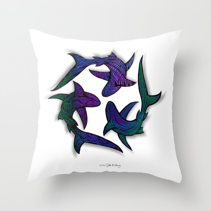SHARK CIRCLE II Throw Pillow