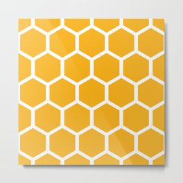 Honeycomb pattern - yellow Metal Print