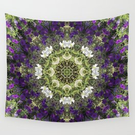 Icy White and Rich Violet Petunias Kaleidoscope Wall Tapestry