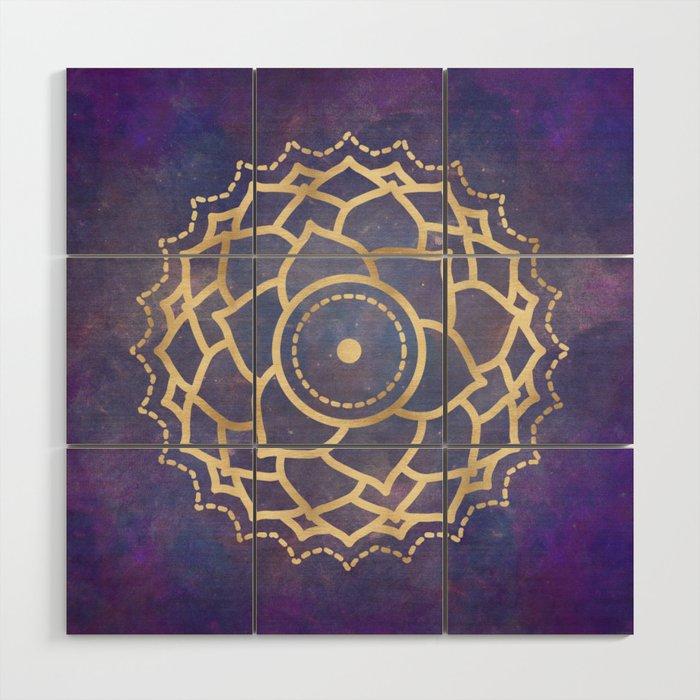 Mandala Chakra Copper And Purple Crown Chakra Wood Wall Art By Naturemagick