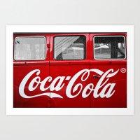 coca cola Art Prints featuring Coca Cola  by Lia Bernini