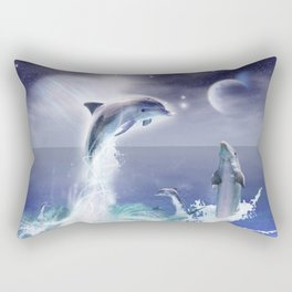 Dolphins and Planets Rectangular Pillow