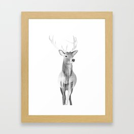 Deer (black and white) Framed Art Print