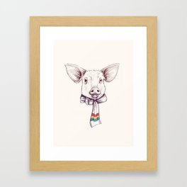 Pig and scarf Framed Art Print