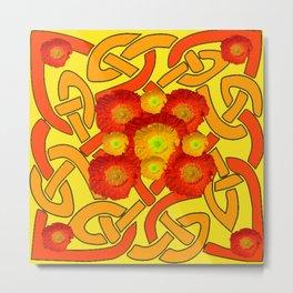 Decorative Orange Poppies Color Yellow Celtic Art Metal Print