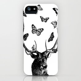 The Stag and Butterflies | Black and White iPhone Case