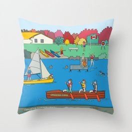 Canoeing Summer Camp Throw Pillow